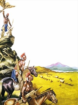 Red Indians observing a wagon train moving West Poster Art Print by Ron Embleton