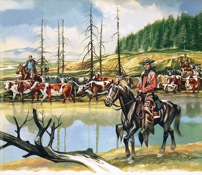 Texan cowboys driving cattle north Poster Art Print by Ron Embleton