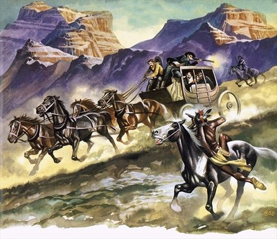 Red Indians attacking a stage coach Poster Art Print by Ron Embleton