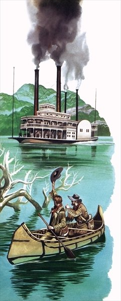 Steamboat on the Missouri river Poster Art Print by Ron Embleton