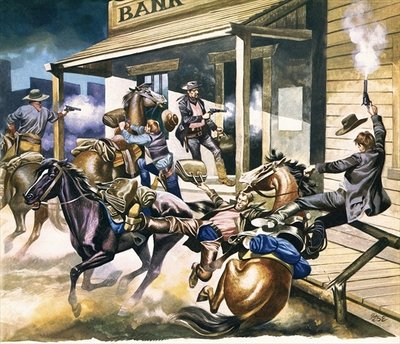 Bank robbery taking place in the Wild West Poster Art Print by Ron Embleton