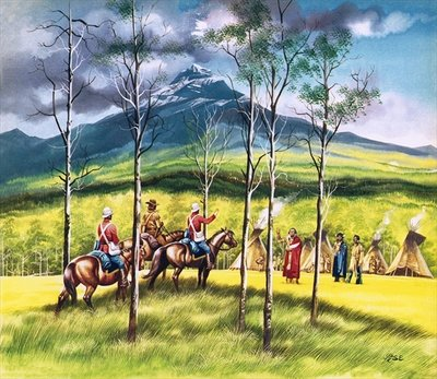 Mountie, James Walsh, meeting Sitting Bull to persuade him of the need for peace Poster Art Print by Ron Embleton