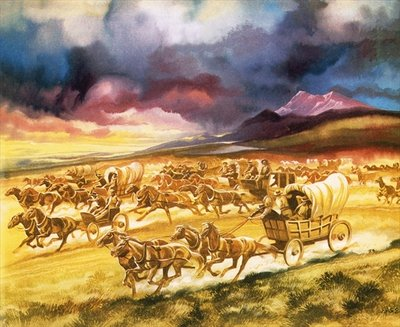 Settlers on a land race into Indian territory Poster Art Print by Ron Embleton