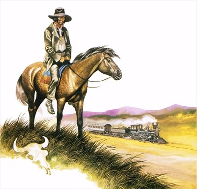 Depressed and dispossessed red indian on horseback Poster Art Print by Ron Embleton