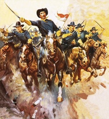 Charge of the US cavalry Poster Art Print by James Edwin McConnell