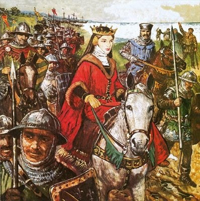 Queen Isabella invading England Poster Art Print by Clive Uptton