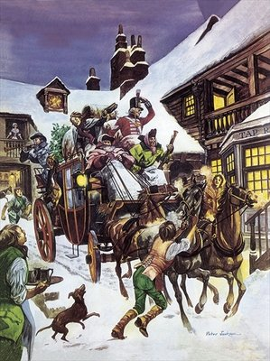 Christmas Day in the 18th century Poster Art Print by Peter Jackson