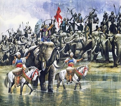King Porus' army facing Alexander the Great in the torrential rain Poster Art Print by Ron Embleton