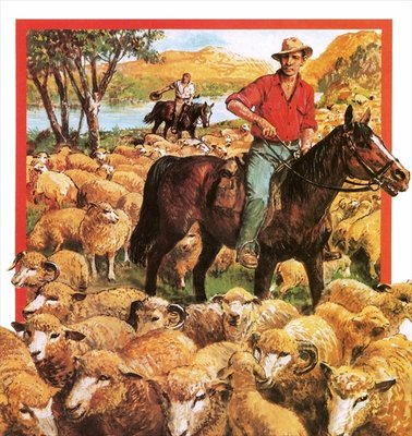 Australian sheep farmer Poster Art Print by Clive Uptton
