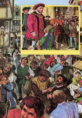 Riot of the apprentices in May 1517 Poster Art Print by Clive Uptton