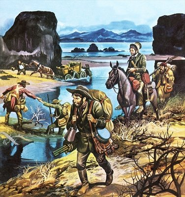 California gold rush Poster Art Print by Ron Embleton