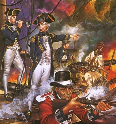 Nelson in the battle of Trafalgar Poster Art Print by Ron Embleton
