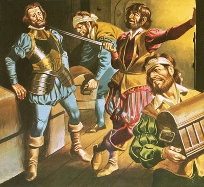Pirates at work Poster Art Print by Ron Embleton