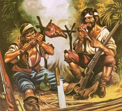 Pirates eating meat Poster Art Print by Ron Embleton