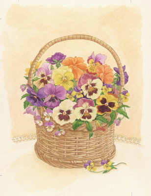 Basket of Pansies, 1998 (w/c on paper) by Linda Benton - print