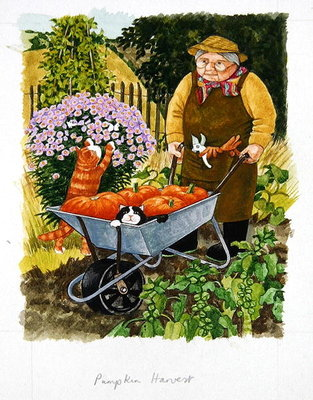 Fine Art Print of Grandma and 2 cats and pumpkin harvest by Linda Benton