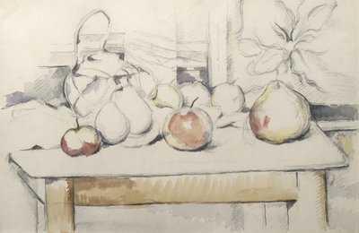 Fine Art Print of Pot of Ginger and Fruits on a Table, c.1888-90 by Paul Cezanne