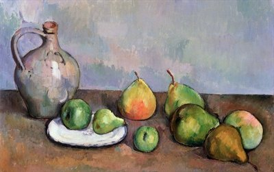 Still Life with Pitcher and Fruit, 1885-87 Poster Art Print by Paul Cezanne