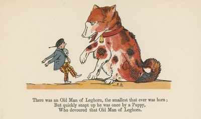 """There was an Old Man of Leghorn, the smallest that ever was born"", from 'A Book of Nonsense', published by Frederick Warne and Co., London, c.1875 Poster Art Print by Edward Lear"
