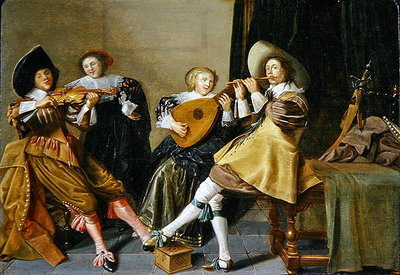 An Elegant Company Playing Music in an Interior Poster Art Print by Dirck Hals