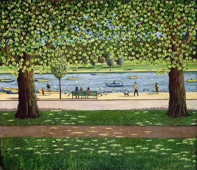 The Serpentine, Hyde Park, 1990 by Liz Wright - print