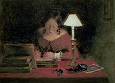 Fine Art Print of Girl Writing by Lamplight, c.1850 by William Henry Hunt