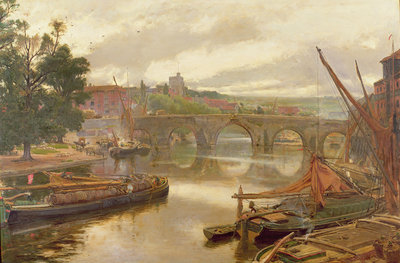The Old Bridge, Maidstone, View Looking South Poster Art Print by Albert Goodwin