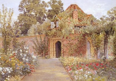 A Walled Garden with Old Garden House Poster Art Print by Thomas H. Hunn