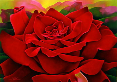 A Great Rose, 2004 (oil on canvas) by Myung-Bo Sim - print