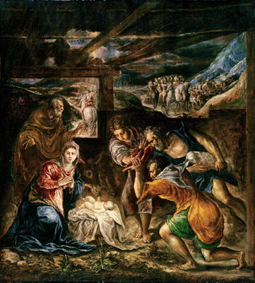 Fine Art Print of Adoration of the Shepherds, 1572-76 by El Greco