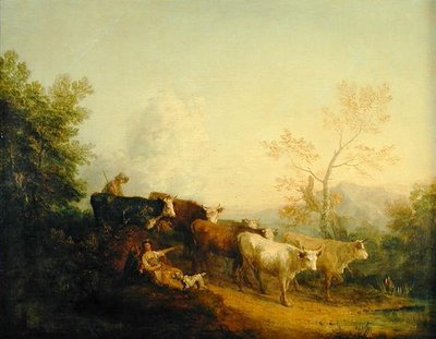 Fine Art Print of Herdsmen Driving Cattle towards a Post by Thomas Gainsborough