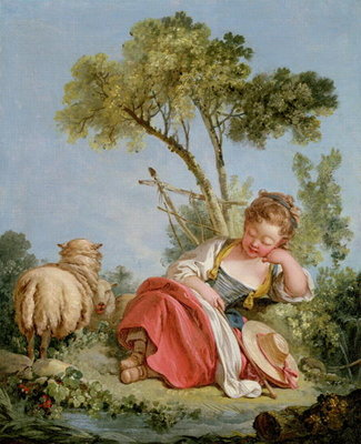 Fine Art Print of The Little Shepherdess, c.1754 by Francois Boucher