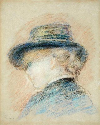 Profile of a Young Woman in a Blue Hat Poster Art Print by Pierre-Auguste Renoir