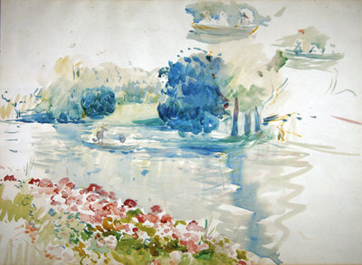 Geraniums by the lake, 1893 Poster Art Print by Berthe Morisot