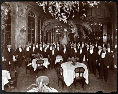 Fine Art Print of Waiters in the Palm Court at Sherry's restaurant, New York, 1902 by Byron Company