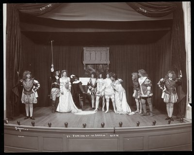 "Fine Art Print of A scene from an amateur production of ""The Taming of the Shrew"" presented at Barnard College, New York by Byron Company"