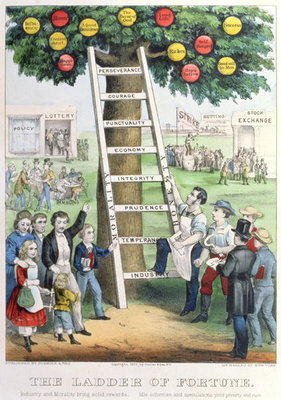 The Ladder of Fortune, pub. by Currier and Ives, New York, 1875 Poster Art Print by American School