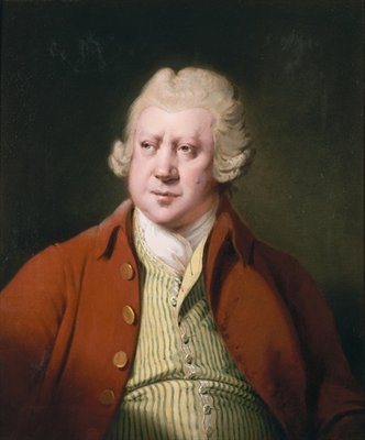 Portrait of Richard Arkwright, half length, in a red coat, white stock and yellow and green waistcoat Poster Art Print by Joseph Wright of Derby
