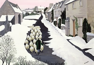 Whittington in winter by Maggie Rowe - print