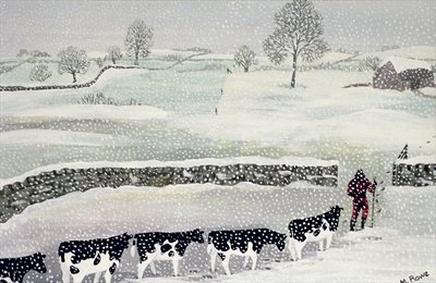 Cotswold: Winter Scene Poster Art Print by Maggie Rowe
