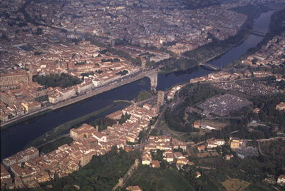 Fine Art Print of Aerial View of the River Arno, Florence by Anonymous