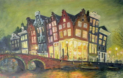 Bright Lights, Amsterdam, 2000 Poster Art Print by Antonia Myatt