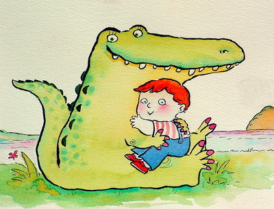 Fine Art Print of Crocodile Hug, or Best Friends by Maylee Christie
