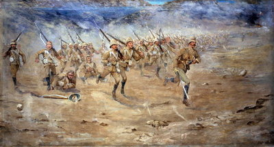 Fine Art Print of Return of the Fore and Aft, Gloucestershire Regiment advancing to the attack, India North West Frontier, 1897 by Edward Matthew Hale