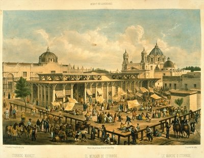 Iturbide Market, Old St. John Sq, Mexico City Poster Art Print by Mexican School