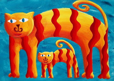 Fine Art Print of Curved Cats, 2004 by Julie Nicholls
