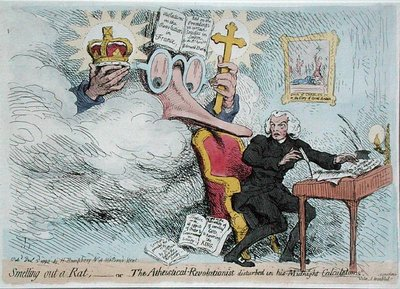 Fine Art Print of Smelling out a Rat, or The Atheistical-Revolutionist disturbed in his Midnight 'Calculations', published by Hannah Humphrey in 1790 by James Gillray