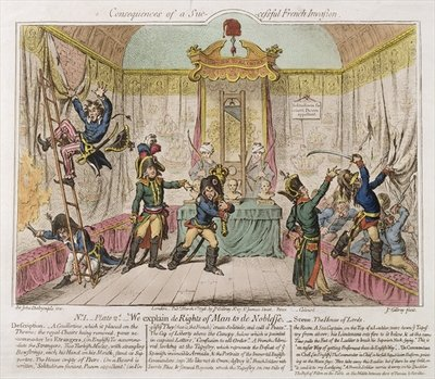 Fine Art Print of Consequences of a Successful French Invasion, or We Explain de Rights of Man to the Noblesse, 1798 by James Gillray