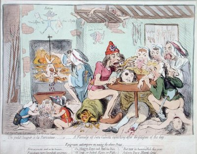 Un Petit Souper a la Parisienne, or A Family of Sans-Culottes Refreshing after the Fatigues of the Day, published by Hannah Humphrey in 1792 Poster Art Print by James Gillray