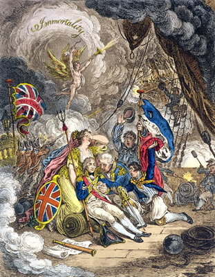 The Death of Admiral Lord Nelson at the Moment of Victory! published by Hannah Humphrey in 1805 Poster Art Print by James Gillray